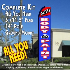 AUTO BODY & PAINT (Red/Blue) Flutter Feather Banner Flag Kit (Flag, Pole, & Ground Mt)