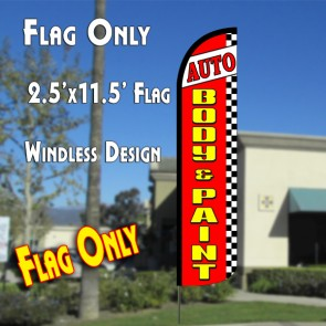 AUTO BODY & PAINT (Red/Checkered) Windless Polyknit Feather Flag (2.5 x 11.5 feet)