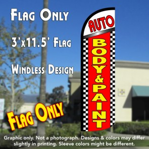 Auto Body & Paint (Checkered) Windless Polyknit Feather Flag (3 x 11.5 feet)