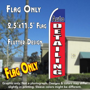 AUTO DETAILING (Blue/Red) Flutter Polyknit Feather Flag (11.5 x 2.5 feet)