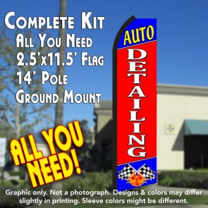 AUTO DETAILING (Blue/Red) Flutter Feather Banner Flag Kit (Flag, Pole, & Ground Mt)