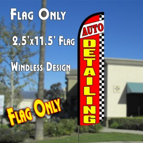 AUTO DETAILING (Red/Checkered) Windless Polyknit Feather Flag (2.5 x 11.5 feet)