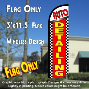 Auto Detailing (Checkered) Windless Polyknit Feather Flag (3 x 11.5 feet)