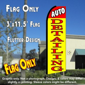 AUTO DETAILING (Red/Yellow) Flutter Feather Banner Flag (11.5 x 3 Feet)