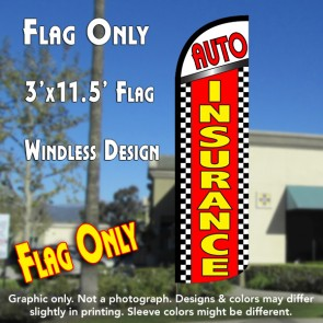 Auto Insurance (Checkered) Windless Polyknit Feather Flag