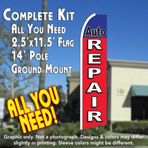 AUTO REPAIR (Blue/Red) Flutter Feather Banner Flag Kit (Flag, Pole, & Ground Mt)