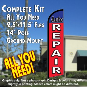 AUTO REPAIR Windless Feather Banner Flag Kit (Flag, Pole, & Ground Mt)