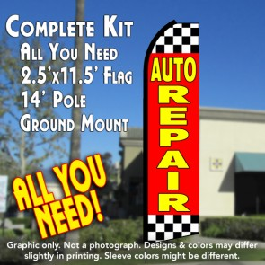 AUTO REPAIR (Checkered) Flutter Feather Banner Flag Kit (Flag, Pole, & Ground Mt)
