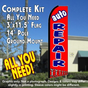 AUTO REPAIR (Red) Flutter Feather Banner Flag Kit (Flag, Pole, & Ground Mt)