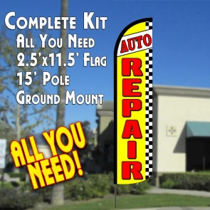 AUTO REPAIR (Yellow/Checkered) Windless Feather Banner Flag Kit (Flag, Pole, & Ground Mt)