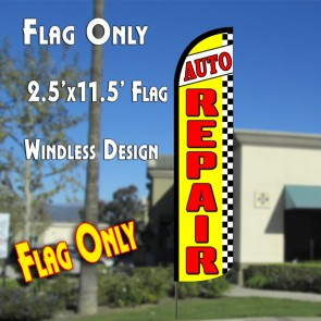 AUTO REPAIR (Yellow/Checkered) Windless Polyknit Feather Flag (2.5 x 11.5 feet)