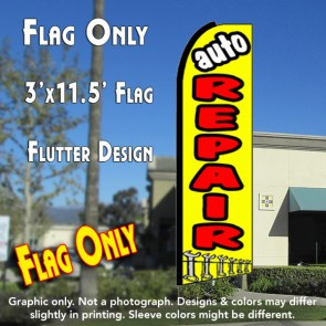 AUTO REPAIR (Yellow) Flutter Feather Banner Flag (11.5 x 3 Feet)