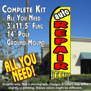 AUTO REPAIR (Yellow) Flutter Feather Banner Flag Kit (Flag, Pole, & Ground Mt)