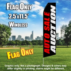 AUTO SALE AUCTION red black white flutter flag