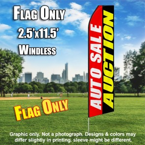 AUTO SALE AUCTION red black white yellow flutter flag