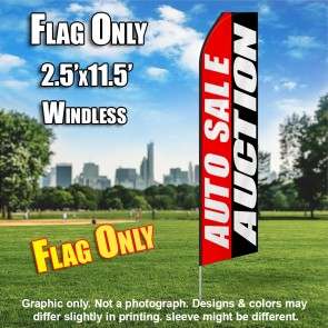 AUTO SALE AUCTION red white black flutter flag
