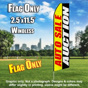 AUTO SALE AUCTION yellow red white black flutter flag