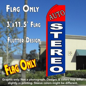 Auto Stereo (Red/Blue) Flutter Feather Banner Flag (11.5 x 3 Feet)