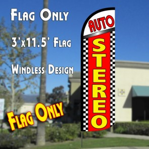 Auto Stereo (Checkered) Windless Polyknit Feather Flag (3 x 11.5 feet)