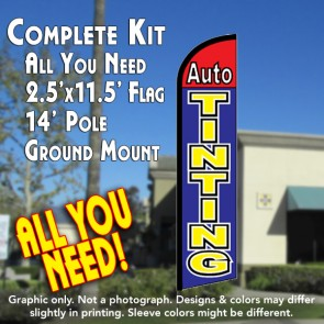 AUTO TINTING (Red/Blue) Windless Feather Banner Flag Kit (Flag, Pole, & Ground Mt)