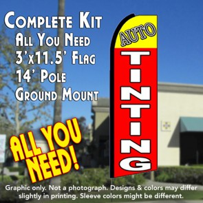 AUTO TINTING (Yellow/Red)  Flutter Feather Banner Flag Kit (Flag, Pole, & Ground Mt)