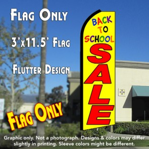BACK TO SCHOOL SALE (Yellow) Flutter Feather Banner Flag (11.5 x 3 Feet)