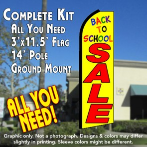 BACK TO SCHOOL SALE (Yellow) Flutter Feather Banner Flag Kit (Flag, Pole, & Ground Mt)