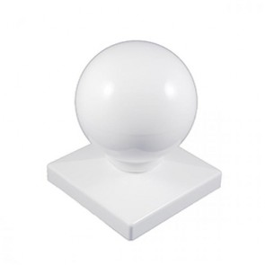 "Vinyl Post Caps White PVC 4"" x 4"" BALL"