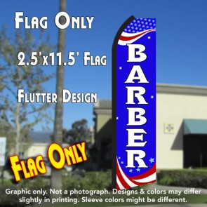 BARBER (Patriotic) Flutter Polyknit Feather Flag (11.5 x 2.5 feet)