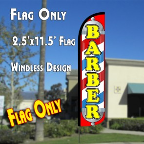 BARBER (Pole/Red) Windless Feather Banner Flag