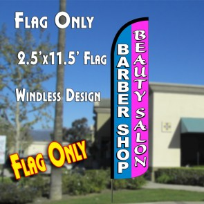 BARBER SHOP/BEAUTY SALON (Blue/Pink) Windless Polyknit Feather Flag (2.5 x 11.5 feet)