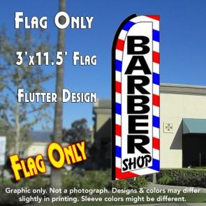 BARBER SHOP (Border) Flutter Feather Banner Flag (11.5 x 3 Feet)