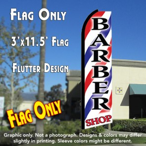 BARBER SHOP Flutter Feather Banner Flag (11.5 x 3 Feet)