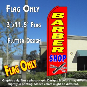 BARBER SHOP (Red) Flutter Feather Banner Flag (11.5 x 3 Feet)