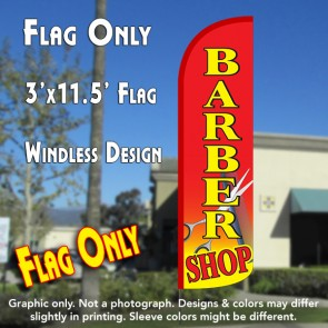 Barber Shop (Red) Windless Polyknit Feather Flag