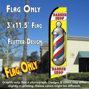BARBER SHOP (Yellow) Flutter Feather Banner Flag (11.5 x 3 Feet)