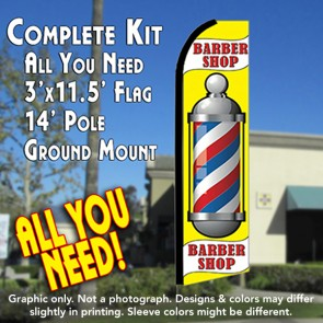BARBER SHOP (Yellow) Flutter Feather Banner Flag Kit (Flag, Pole, & Ground Mt)