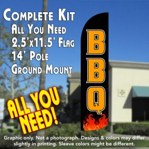 BBQ (Black) Windless Feather Banner Flag Kit (Flag, Pole, & Ground Mt)