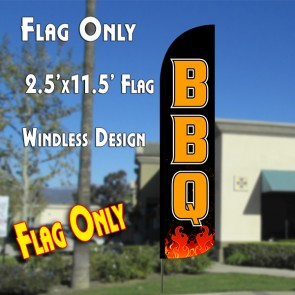 BBQ (Black/Orange) Windless Polyknit Feather Flag (2.5 x 11.5 feet)