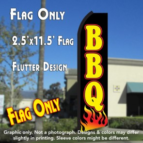 BBQ (Black/Yellow/Flames) Flutter Polyknit Feather Flag (11.5 x 2.5 feet)