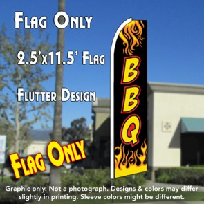 BBQ (Black/Yellow) Flutter Feather Banner Flag (11.5 x 2.5 Feet)