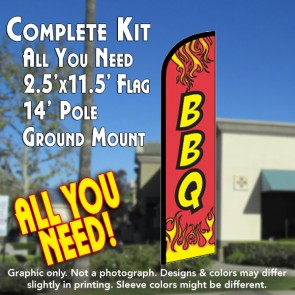 BBQ (Red) Windless Feather Banner Flag Kit (Flag, Pole, & Ground Mt)