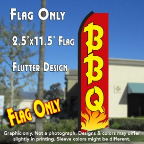 BBQ (Red/Yellow/Flames) Flutter Polyknit Feather Flag (11.5 x 2.5 feet)
