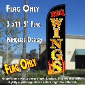 BBQ Wings Windless Polyknit Feather Flag (3 x 11.5 feet)