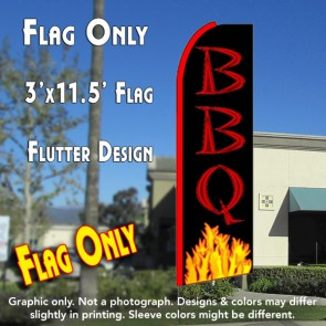 BBQ (Yellow Flames) Flutter Feather Banner Flag (11.5 x 3 Feet)