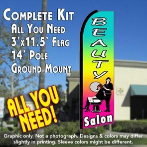 BEAUTY SALON (Multi-colored) Flutter Feather Banner Flag Kit (Flag, Pole, & Ground Mt)
