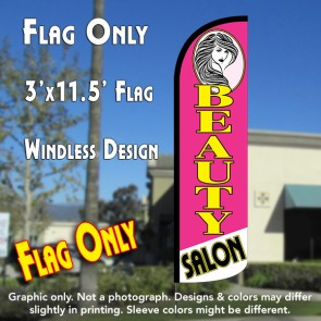 BEAUTY SALON (Pink) Windless Feather Banner Flag (2.5 x 11.5 Feet)