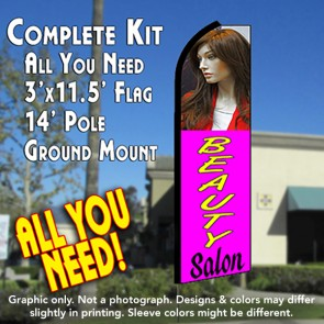 BEAUTY SALON (Purple) Flutter Feather Banner Flag Kit (Flag, Pole, & Ground Mt)