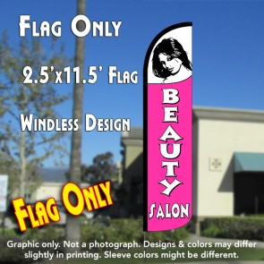 BEAUTY SALON (White/Pink) Windless Polyknit Feather Flag (2.5 x 11.5 feet)