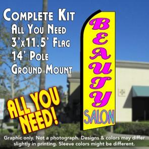 BEAUTY SALON (Yellow) Flutter Feather Banner Flag Kit (Flag, Pole, & Ground Mt)